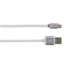 SKROSS USB kabel Steel Line Charge'n Sync, délka 1m, micro USB, opletený kabel