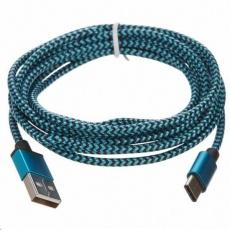CELLFISH univerzální pletený kabel, USB-C, 2 m, modrá