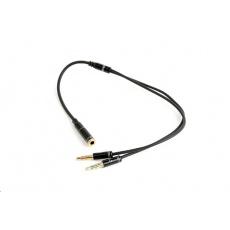 GEMBIRD Kabel CABLEXPERT rozdvojka jack 3,5mm (4 pólový) na 2x3,5mm F/M, kovové koncovky, 20cm, černá