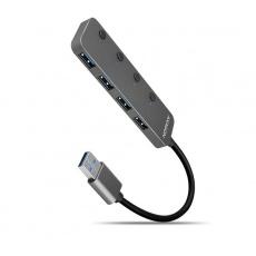 AXAGON HUE-MSA, 4x USB 3.2 Gen 1 SWITCH hub, kovový, micro USB nap. konektor, kabel USB-A 20cm