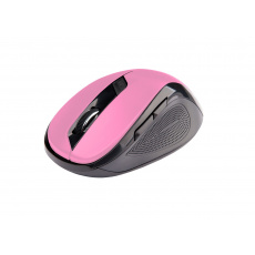 C-TECH myš WLM-02, černo-růžová, bezdrátová, 1600DPI, 6 tlačítek, USB nano receiver