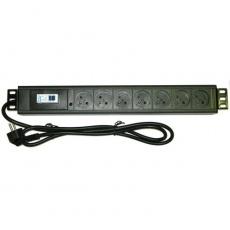 """19"""" rozvodný panel 7x230V, ČSN, nadproud.jistič/vypínač, indikátor napětí, kabel 1,8m, výška 1,5U"""