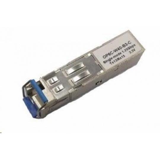 SFP WDM transceiver 1,25Gbps, 1000BASE-BX10, SM, 10km, TX1310/RX1550nm, LC simp., 0 až 70°C, 3,3V, HP komp., DMI