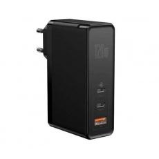 Baseus GaN Mini rychlo nabíjecí adaptér USB + 2x Type-C 120W EU + kabel Xiaobai Type-C/Type-C 100W 1m černá