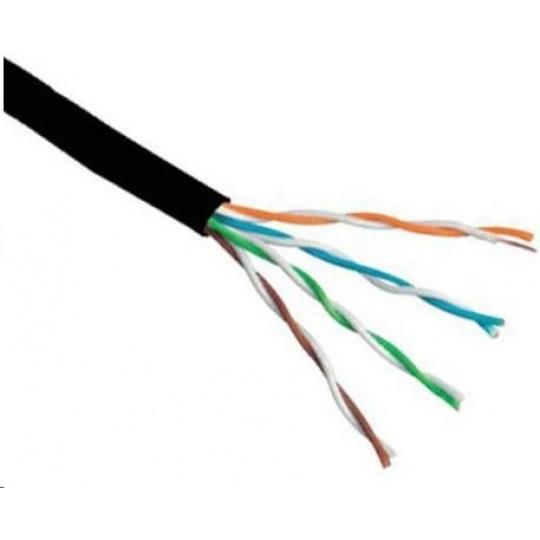 UTP kabel PlanetElite, Cat6, drát, venkovní PE, černý, 305m, cívka