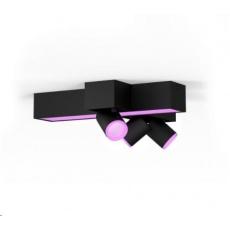 PHILIPS 3bodové zkřížené stropní světlo Centris, Hue White and Color ambiance, 3x5.7W GU10, Černá