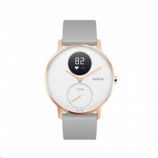 Withings / Nokia Steel HR (36mm) Rose Gold w/ Grey Silicone Wristband