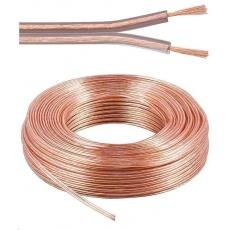 PremiumCord Kabely na propojení reprosoustav 100% CU měď 2x0,75mm 50m