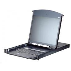"ATEN 8-port Cat.5 KVM PS/2+USB, OSD, dual rail rack, 19"" LED LCD, ovládání over IP 1local/1remote"