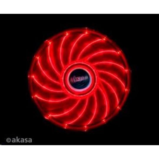 AKASA ventilátor Vegas 120x120x25mm, 1200RPM podsvícený, 15xLED, červený