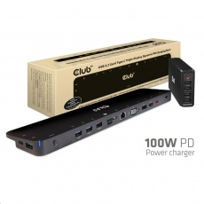 Club3D dokovací stanice USB-C 3.2 s napájecím adaptérem Triple Dynamic PD, 100 W