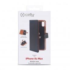 Celly pouzdro Wally s funkcí stojánku pro iPhone Xs Max, černá