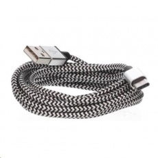 CELLFISH univerzální pletený kabel, USB-C, 2 m, střbrná