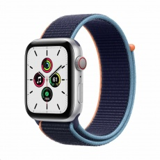 Apple Watch SE GPS + Cellular, 44mm Silver Alum. Case + Deep Navy Sport Loop