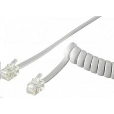 PremiumCord Kabel telefonní sluchátkový kroucený 4 žíly 4m - bílý