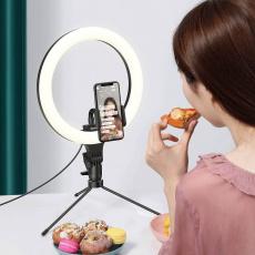 Baseus stojan s kruhovým světlem pro natáčení, černá - poškozený obal