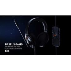 Baseus GAMO USB drátová herní sluchátka, černá